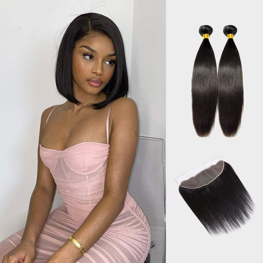 Brooklyn Hair 9A Straight Hair Bundles / 2 Bundles with 13x4 Lace Frontal Look - Bundle Hair - Brooklyn Hair