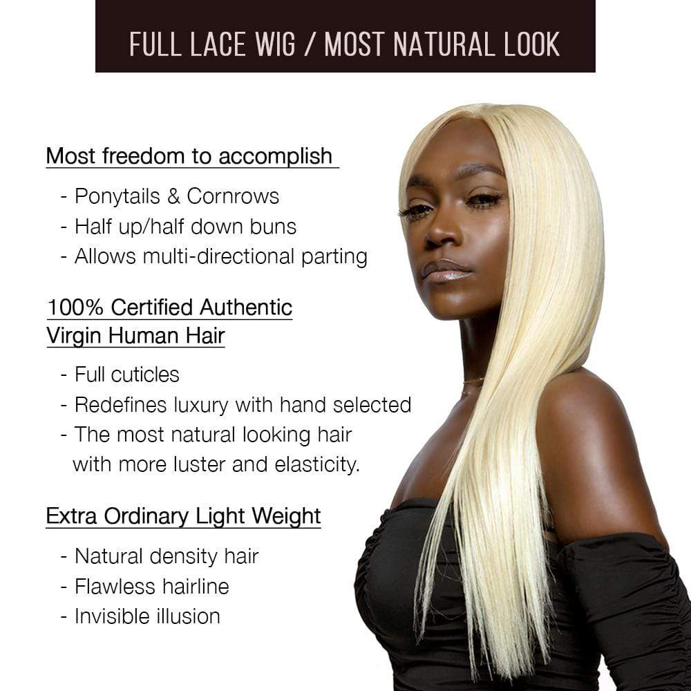 "Brooklyn Hair Full Lace Wig / Brazilian Platinum Blonde Straight Long 20-24"" - Bundle Hair - Brooklyn Hair"