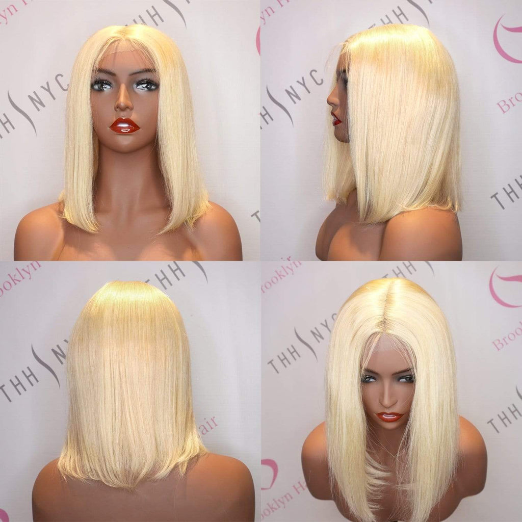 Brooklyn Hair 100% Virgin Brazilian Human Hair Lace Part Wig - Shoulder Bob Style Virgin Blonde with Deep Invisible Lace Part - Bundle Hair - Brooklyn Hair