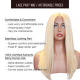 Lace T Part Wig / Platinum Blonde (#613) Bob Straight - Brooklyn Hair