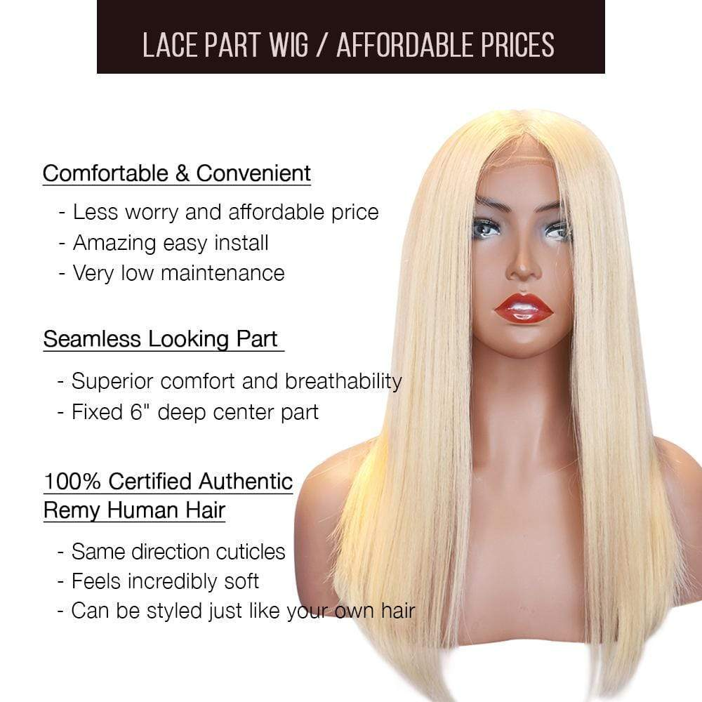 Lace T Part Wig / Platinum Blonde Straight (#613) - Brooklyn Hair