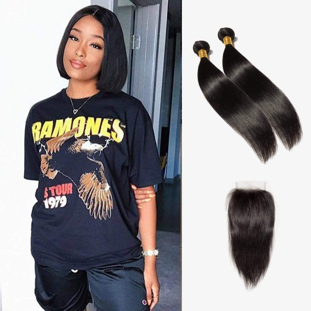 "Brooklyn Hair Extension 7A Virgin Brazilian Bundle Blunt Cut Hair Style Straight Weave / 4x4 Brazilian Lace Closure 10"" - Bundle Hair - Brooklyn Hair"