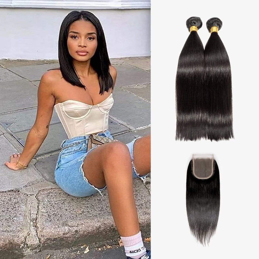Brooklyn Hair Extension 7A Brazilian Bundle Hair Virgin Straight Shoulder Length Weave / 4x4 Brazilian Lace Closure Virgin Straight - Bundle Hair - Brooklyn Hair