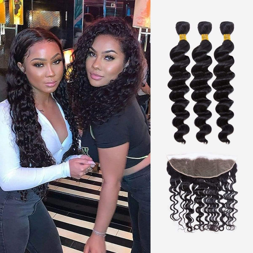 Brooklyn Hair Extension 9A Grade 100% Brazilian Human Virgin Hair Loose Wave Style Weave / 3 Bundles with 13X4 Frontal Deal - Bundle Hair - Brooklyn Hair