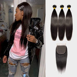 Brooklyn Hair 9A Straight / 3 Bundles with 6x6 Lace Closure Look - Bundle Hair - Brooklyn Hair