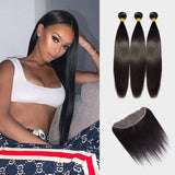 Brooklyn Hair 9A Straight / 3 Bundles with 13x4 Lace Frontal Look - Brooklyn Hair