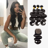 Brooklyn Hair 7A Body Wave / 3 Bundles with 4x4 Lace Closure Look - Brooklyn Hair