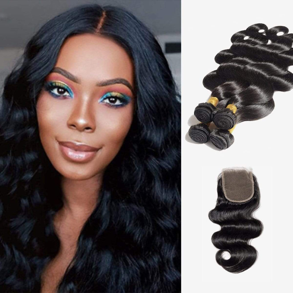 Brooklyn Hair 7A Body Wave / 4 Bundles with 4x4 Lace Closure Look - Bundle Hair - Brooklyn Hair