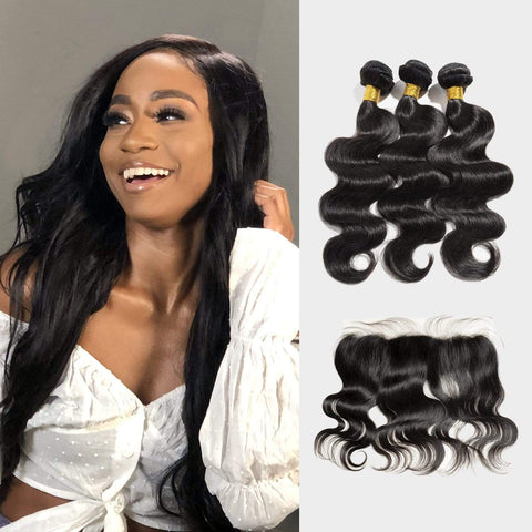 Brooklyn Hair Extension 9A Body Wave 100% Indian Virgin Human Hair Long Body Wave Style Weave /3 Bundles with 13x4 Long Lace Frontal Deal - Bundle Hair - Brooklyn Hair