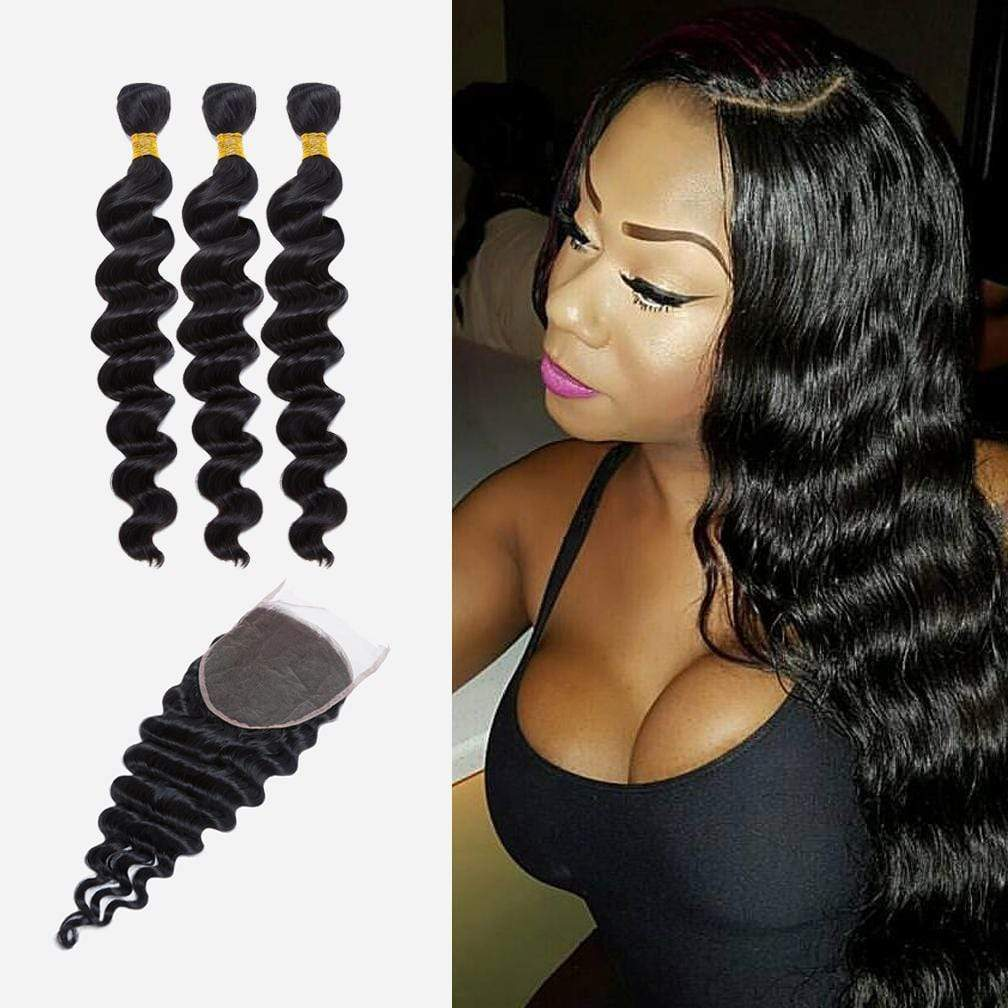 Brooklyn Hair Extension 9A Indian Virgin Loose Wave Hair Long Style Weave / 3 Long Bundles with 6x6 Lace Closure Deal - Bundle Hair - Brooklyn Hair