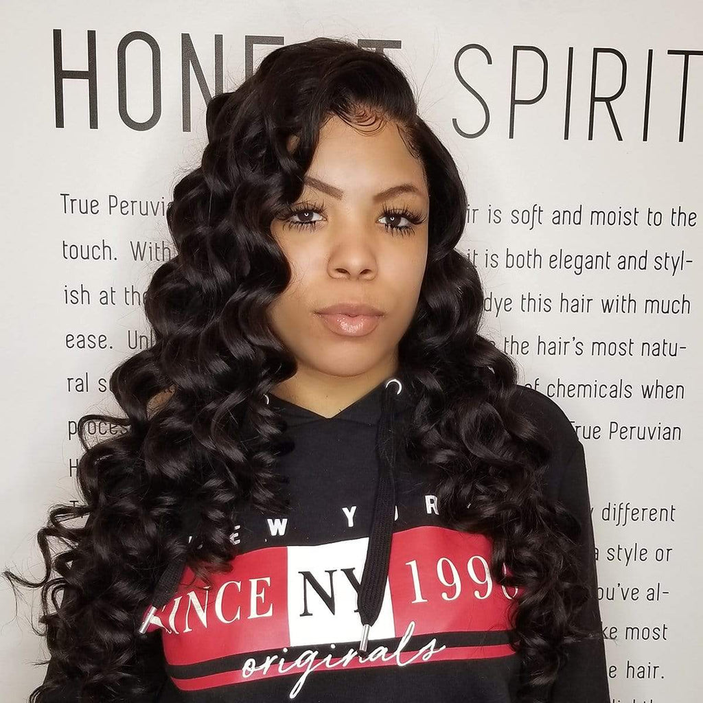 Brooklyn Hair 9A Loose Wave / 3 Bundles with 13x4 Lace Frontal Look by Jenny - Brooklyn Hair