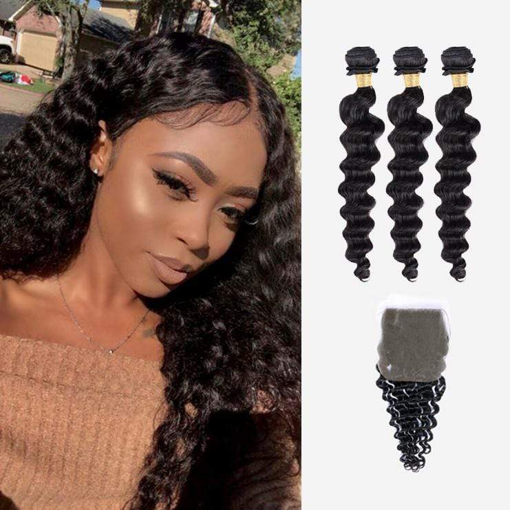 Brooklyn Hair 9A Loose Deep Wave / 3 Bundles with 4x4 Lace Closure Look - Bundle Hair - Brooklyn Hair
