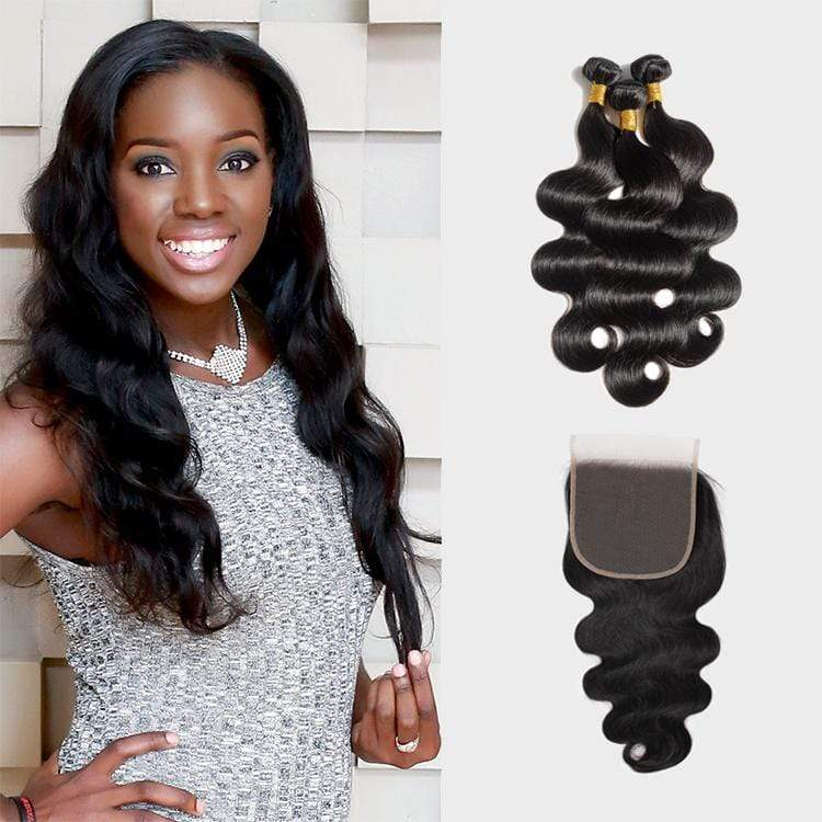 Brooklyn Hair 7A Body Wave / 3 Bundles with 4x4 Lace Closure Look by Wanda - Bundle Hair - Brooklyn Hair