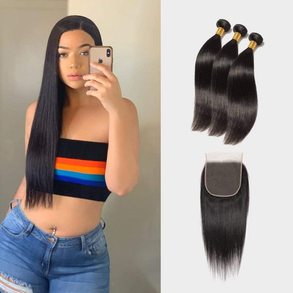 Brooklyn Hair Extension 7A Straight 100% Virgin Human Hair Long & Slayed Style Weave / 3 Bundles with 6x6 Lace Closure Deal - Bundle Hair - Brooklyn Hair