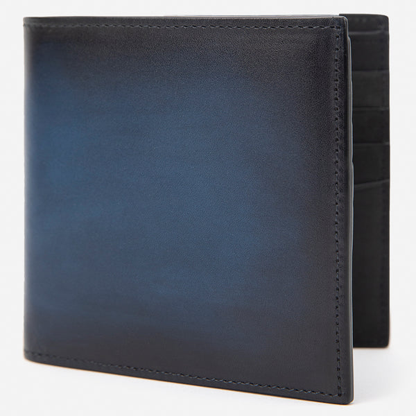 Navy Blue Leather Bi-Fold Wallet