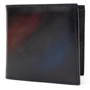 Maroon & Navy Blue Leather Bi-Fold Wallet