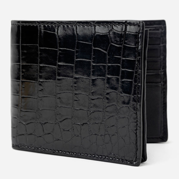 Black Croco Textured Leather Bi-Fold Wallet