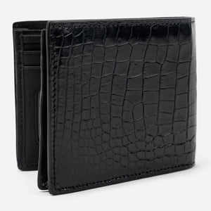 Black Croco Leather Bi-Fold Wallet