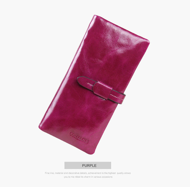 Contact's 2018 Genuine Leather Women Wallets Fashion Brand Real Cowhide Wallet Long Design Clutch Female Purse With Card Holder