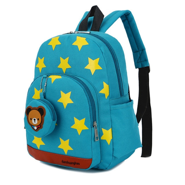 Baby's Cute Stars School Bags Red Mochila Kids Bags Children Backpacks with Bear Pendant for Kindergarten Girls Bolsa Escolar