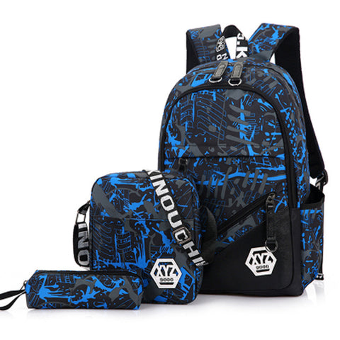 3pcs/Sets 2018 Men Travel Backpacks Camouflage Printing School Bag Backpack Canvas Schoolbags for Teenage Boys Students Bag back