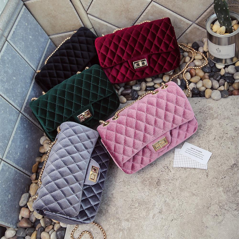 Luxury Handbags Women Bags Designer Shoulder Vintage Velvet Chain Evening Clutch Bag Messenger Crossbody Bags For Women 2018