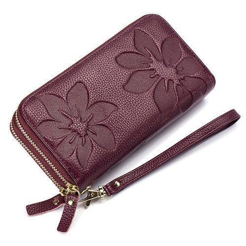 Genuine Leather Floral Embossed Long Wallets For Women Double Zipper Clutch Bag High Capacity Card Holder Wallet Female Wristlet