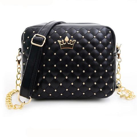 42b791cbddae Women Bag Fashion Women Messenger Bags Rivet Chain Shoulder Bag High  Quality PU Leather Crossbody Crown