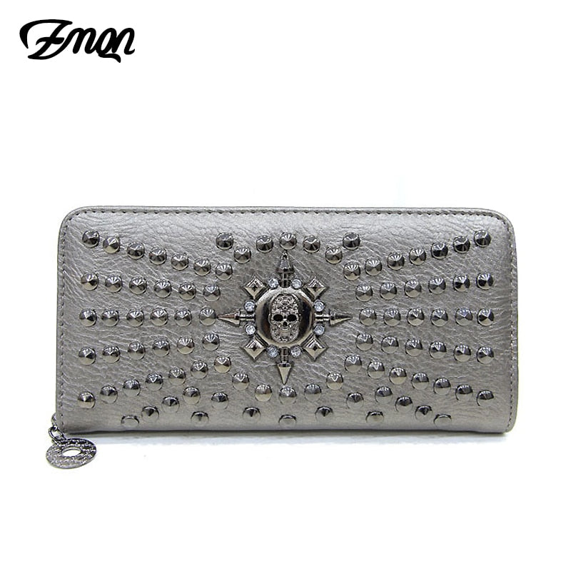 ZMQN Women Wallet 2018 Fashion Long Wallets Female Card Skull Rivet Phone PU Leather Clutch Bags For Women Purses Money Bolsos