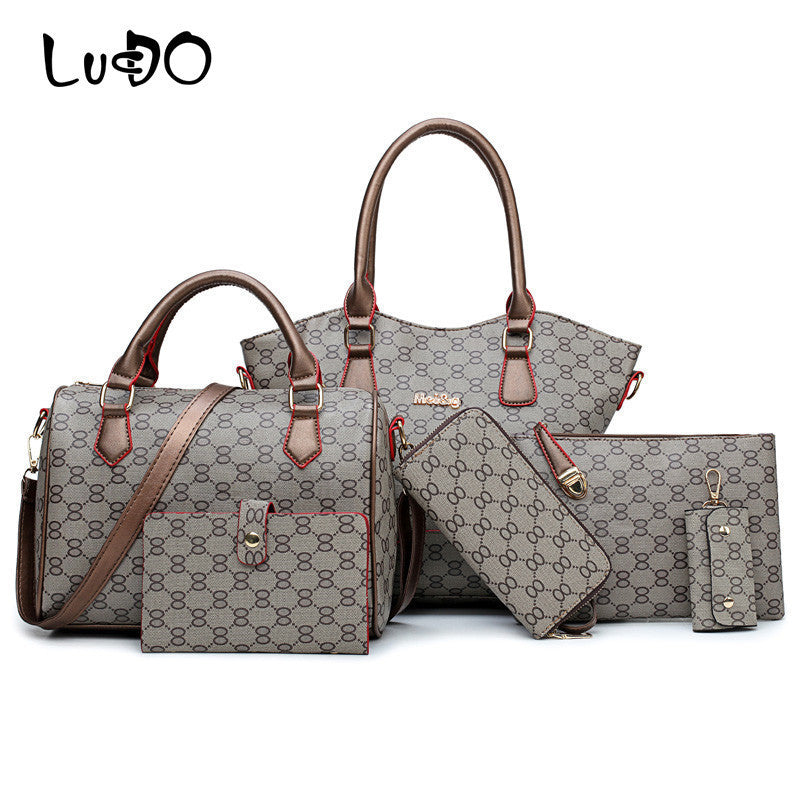 LUCDO 6PCS Women Composite Bags Luxury Handbags Female  Crossbody Shoulder Bag Ladies Money Purse Wallets Key Chain Holder Bags