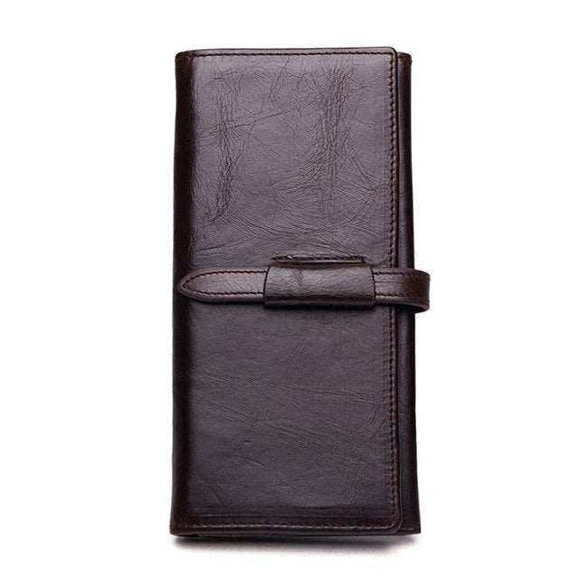 100% Genuine Leather Wallet Men Long Vintage Cow Leather Casual Purse Brand Design High Quality Wallets Cell Phone Bag