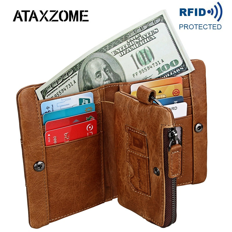 ATAXZOME Genuine Crazy Horse Natural Leather Men Wallet Short Coin Purse Vintage Wallets Brand Anti-magnetic RFID Wallet W8233