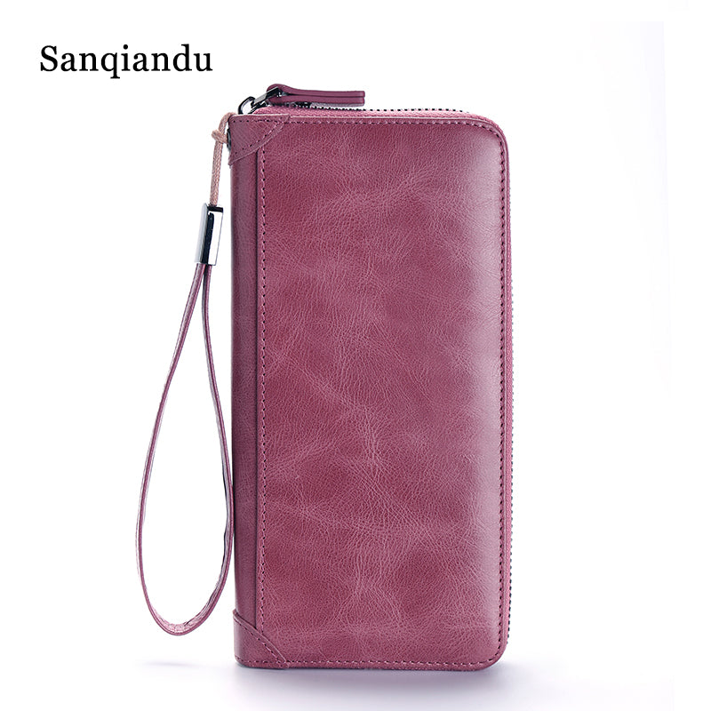 Genuine Leather Women Wallets Luxury 2018 New High Quality Girls Purse Card Holder Long Clutch Money Bag Wallet For Iphone Purse