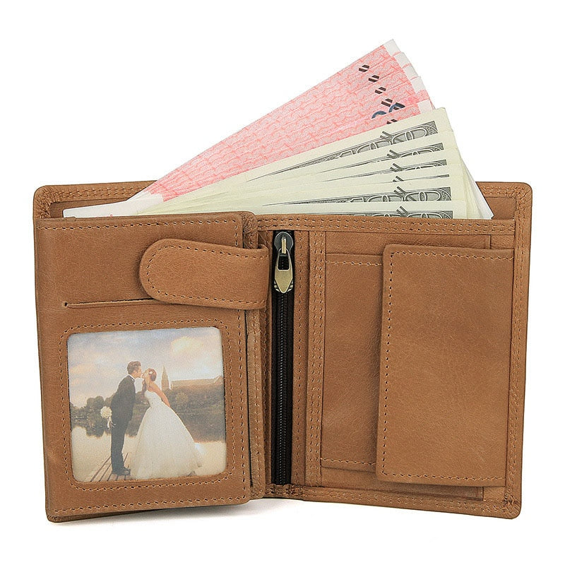 Vintage Designer 100% Genuine Carteiras Masculinas Cowhide Leather Men Short Wallet Purse Card Holder Coin Pocket MVale Wallets