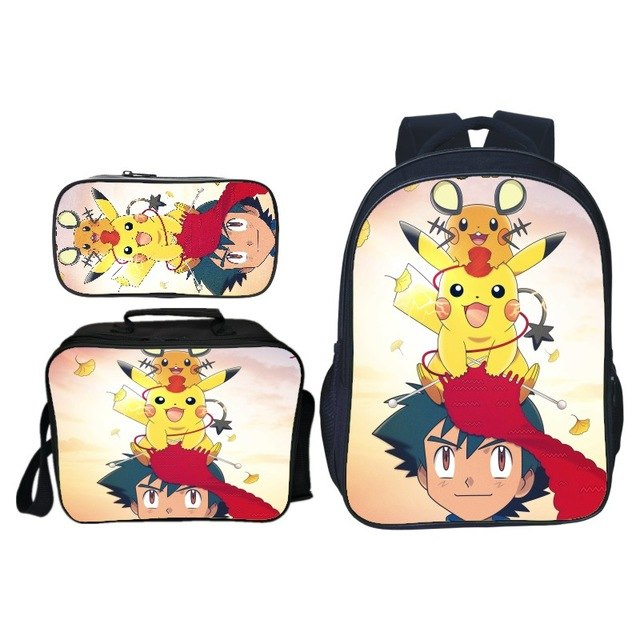 3pcs/set Cute Cartoon Printing Pikachu Kids Baby School Bags Pokemon Children Backpacks for Girls Suit Bookbag Boys Schoolbag
