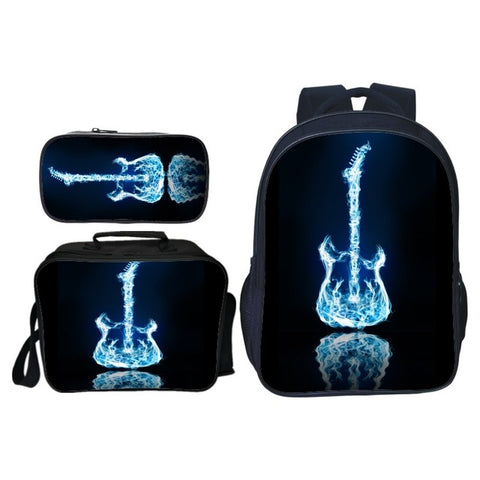 3pcs/set New Fashion Printing Stars Guitar Kids Baby School Bags Cool Children Backpacks for Boys Schoolbag Student Suit Bag