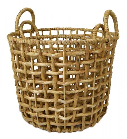 Basket Round Open Weave Hyacinth