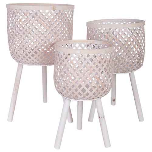White Wash Planter Stand