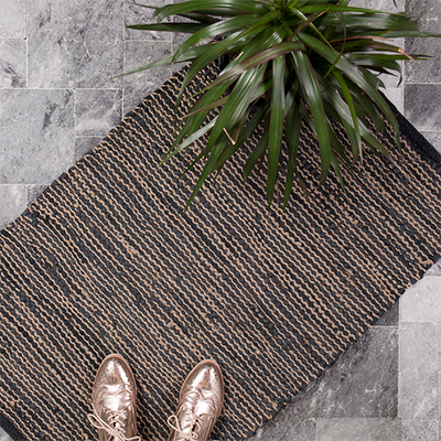 Leather & Jute Woven Rug
