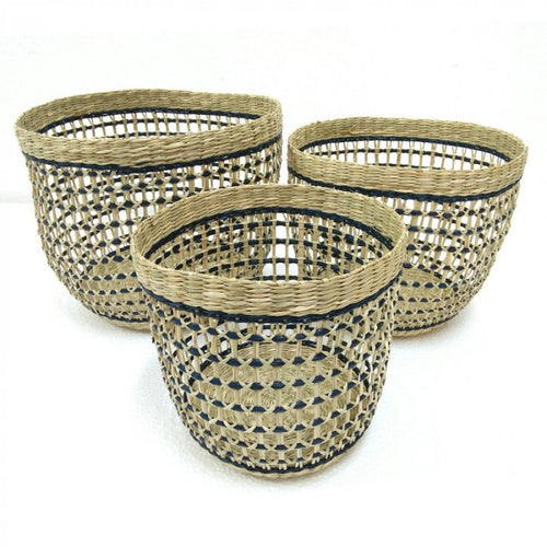Basket Round Open Seagrass in Natural/Blue