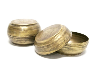 ANTIQUE BRASS PILL BOX LARGE