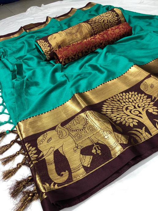 Cotton silk saree with beautiful blouse