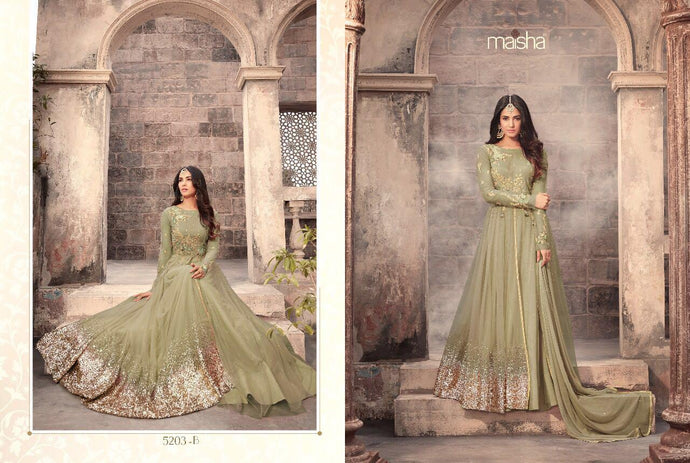 Fabonbudget Embroidered Anarkali With Stone Sleeve
