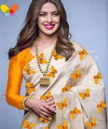 zarna silk Embroidered butterfly design saree