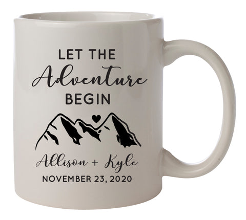 Let The Adventure Begin- personalized coffee mugs favors