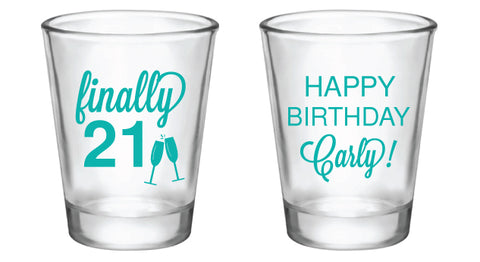 21st birthday shot glasses, finally 21 personalized design