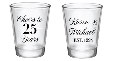 Anniversary shot glasses