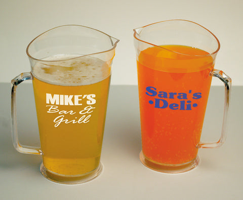60oz customized pitchers with a one color logo, for your bar or restaurant. wholesale lot of pitchers
