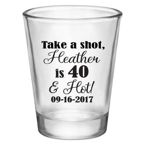 personalized birthday shot glasses, customized for any age birthday, personalized party favors