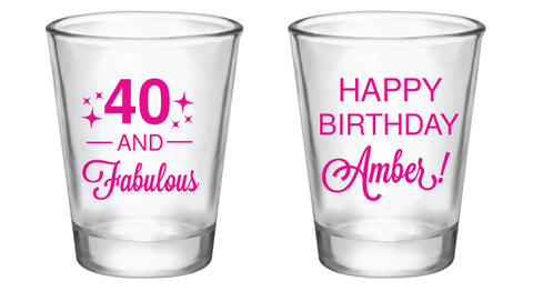 40th birthday shot glasses, 40 and fabulous personalized design